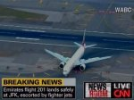 Сопровождаемый ВВС США самолет приземлился в аэропорту Нью-Йорка